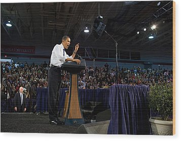 President Obama Promotes Health Care Wood Print by Everett