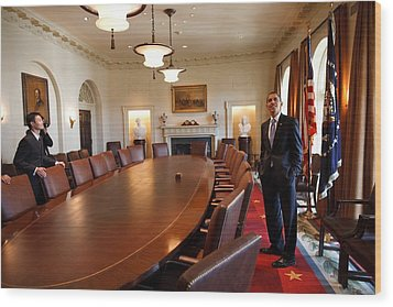 President Obama Surveys The Cabinet Wood Print by Everett