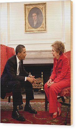 President Obama With Former First Lady Wood Print by Everett