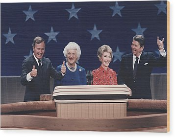President Reagan Nancy Reagan Wood Print by Everett