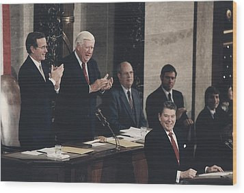 President Reagan Receives A Standing Wood Print by Everett