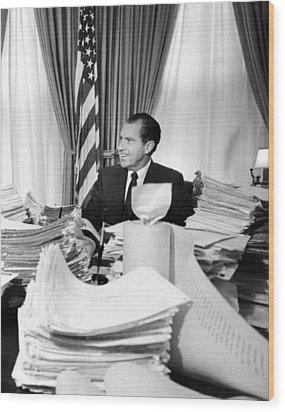President Richard Nixon Sitting Among Wood Print by Everett