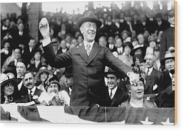 President Woodrow Wilson Throws Throws The First Pitch On Opening Day - C 1916 Wood Print by International  Images