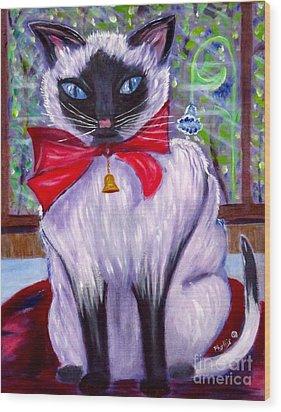 Pretty Fat Cat Wood Print by Phyllis Kaltenbach