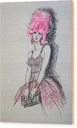 Wood Print featuring the drawing Pretty In Pink Hair by Sue Halstenberg