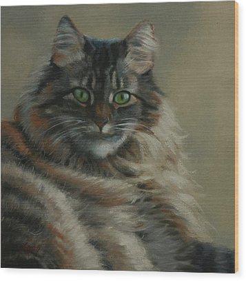 Pretty Kitty Wood Print by Linda Eades Blackburn