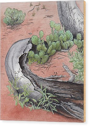 Prickly Pear Cacti In Zion Wood Print by Inger Hutton