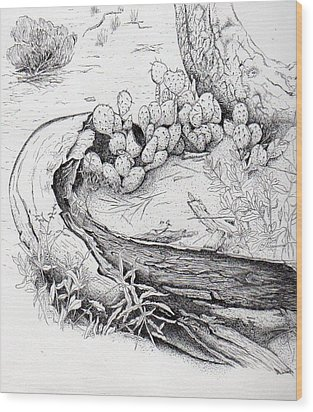 Prickly Pear Wood Print by Inger Hutton