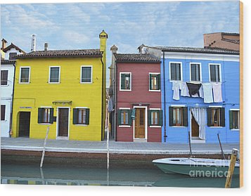 Wood Print featuring the photograph Primary Colors In Burano Italy by Rebecca Margraf