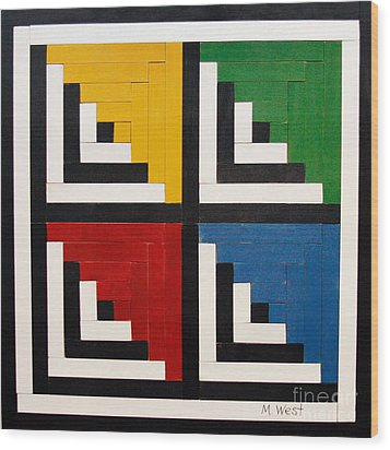 Primary Colors Wood Print by Marilyn West