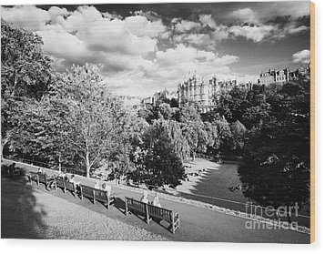Princes Street Gardens In Edinburgh City Centre Scotland Uk United Kingdom Wood Print by Joe Fox