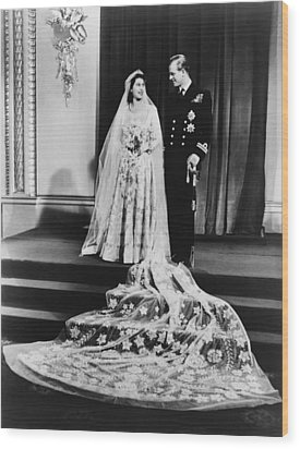 Princess Elizabeth And Prince Philip Wood Print by Everett