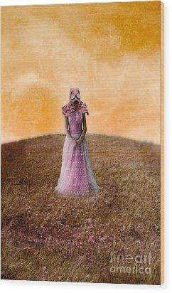 Princess In Gas Mask Wood Print by Jill Battaglia