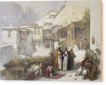 Principal Court Of The Convent Of St. Catherine Wood Print by Munir Alawi