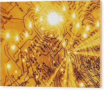 Printed Circuit Board, Artwork Wood Print by Mehau Kulyk