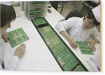 Printed Circuit Board Assembly Work Wood Print by Ria Novosti