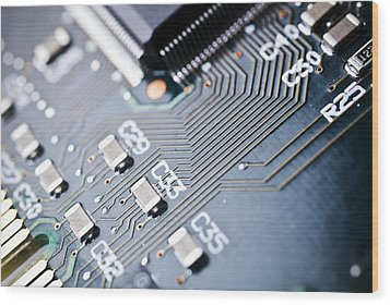 Printed Circuit Board Components Wood Print by Arno Massee
