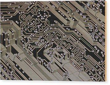 Printed Circuit Board, Computer Artwork Wood Print by Pasieka