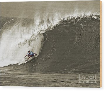Pro Surfer Julian Wilson Surfing In The Pipeline Masters Contest Wood Print by Paul Topp