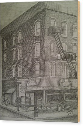 Produce Market In Brooklyn Wood Print by Irving Starr