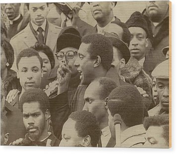 Profile Of Stokely Carmichael Speaking Wood Print by Everett
