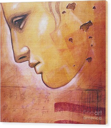 Profile With Einstein Equation Wood Print by Chris Bradley