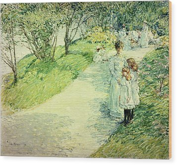 Promenaders In The Garden Wood Print by Childe Hassam