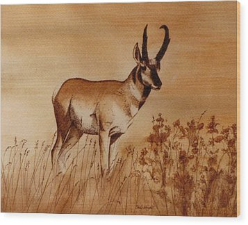 Wood Print featuring the painting Pronghorn Antelope by Cindy Wright
