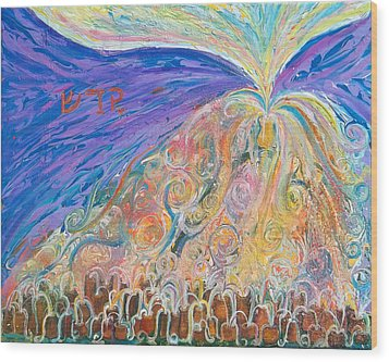 Prophetic Message Sketch 22 Sanctify Glory Pouring Into Vessel On The Mountain  Wood Print by Anne Cameron Cutri