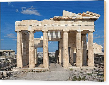 Propylaia - Greece Wood Print by Constantinos Iliopoulos