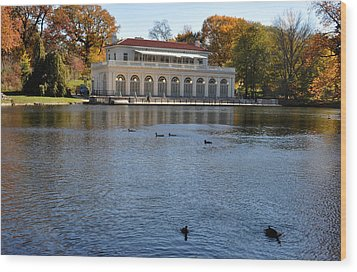 Prospect Park Boathouse In Fall Wood Print by Diane Lent
