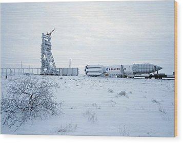 Proton M Rocket Near Its Launch Pad Wood Print by Ria Novosti