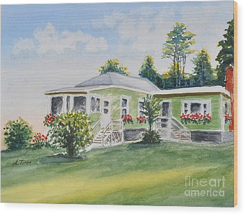 Prout's Neck Cottage Wood Print by Andrea Timm