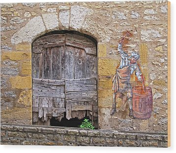 Wood Print featuring the photograph Provence Window And Wall Painting by Dave Mills