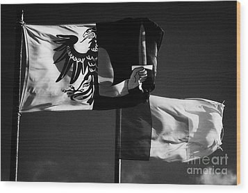 Provincial Connacht And Irish Tricolour Flags Flying In Republic Of Ireland Wood Print by Joe Fox