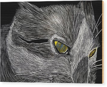 Wood Print featuring the drawing Prowl by Lisa Brandel