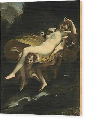 Psyche Transported To Heaven Wood Print by Pierre-Paul Prud hon
