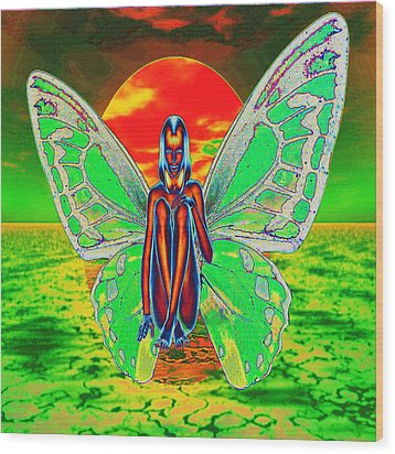 Psychedelic Butterfly Wood Print by Matthew Lacey