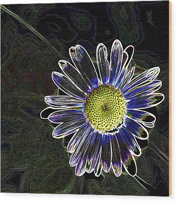 Psychedelic Daisy Wood Print