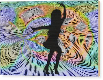 Psychedelic Dancer Wood Print by Bill Cannon