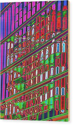 Psychedelic Reflection Of Barcelona 12 Wood Print by Richard Henne