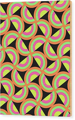 Psychedelic Squares Wood Print by Louisa Knight