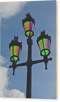 Psychedelic Streetlamps Wood Print by Richard Henne