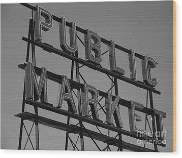 Public Market Wood Print by Monika Pabon