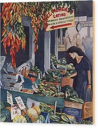 Public Market With Chilies Wood Print by Scott Nelson