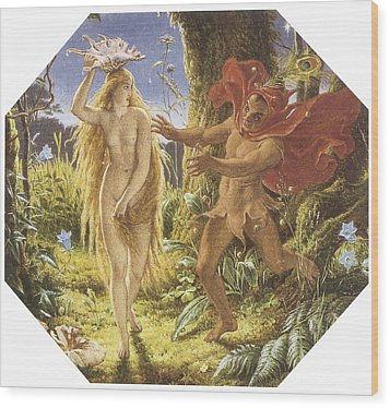 Puck And The Fairy Wood Print by Joseph Noel Paton
