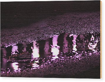 Wood Print featuring the photograph Puddle In Purple Reflection by Carolina Liechtenstein