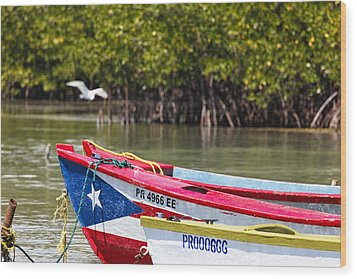 Puerto Rican Fishing Boats Wood Print by George Oze