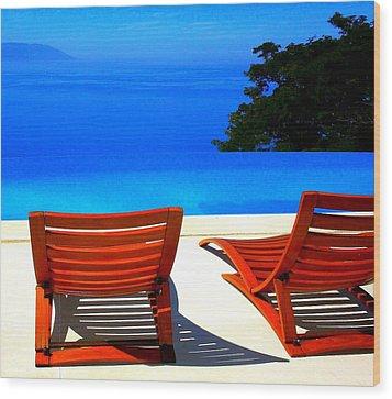 Puerto Vallarta Pool Wood Print by Randall Weidner