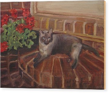 Wood Print featuring the painting Puff by Carol Berning
